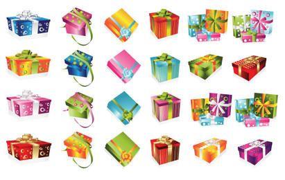 24 caixas de presente coloridas