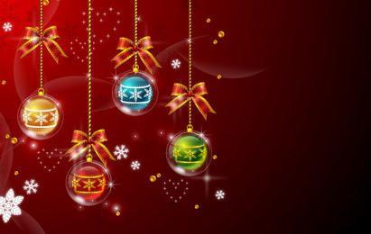 Bolas de navidad fondo rojo