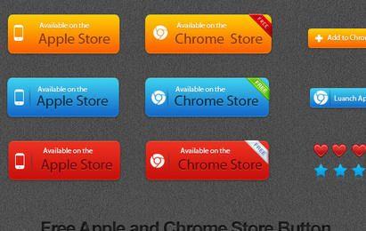 Tienda gratuita de Apple y Chrome Vector Button