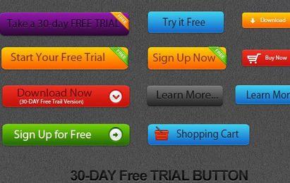 Botão de teste gratuito de vetor