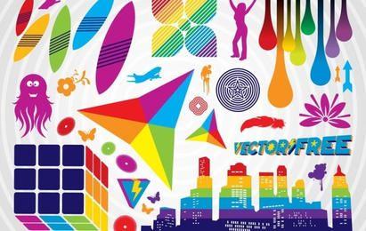 Conjunto de elementos gráficos coloridos