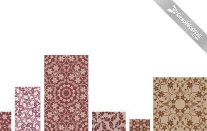 Conjunto de padrão floral vetor 04