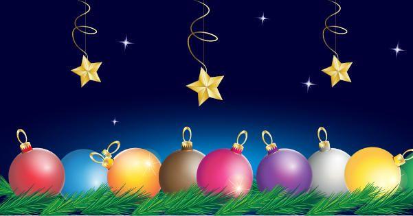 Bolas coloridas com galhos de árvores e estrelas