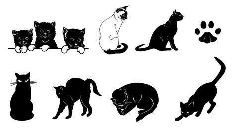 Black & White Silhouette Cat Set
