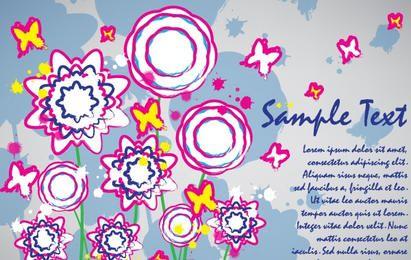Tarjeta de flores de colores diseño de pincel