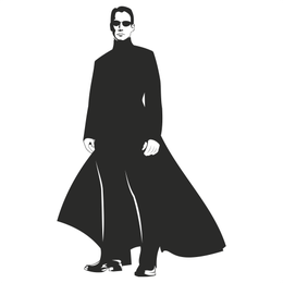 Neo Matrix Silhouette Portrait of Keanu Reeves