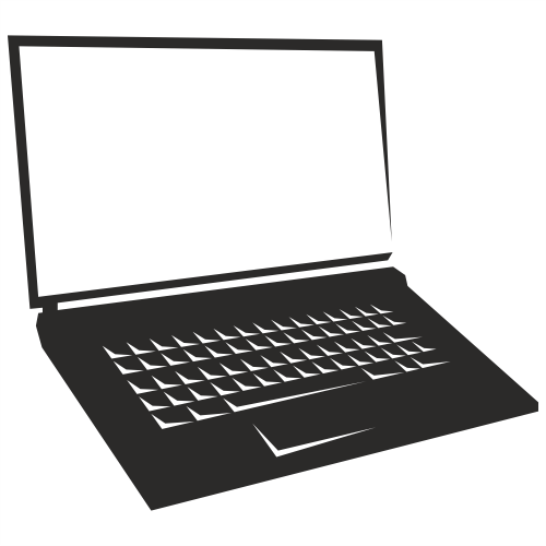 Blank Screen Notebook Laptop Silhouette - Vector download