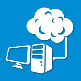 Computadora de escritorio abstracta conectada a la nube