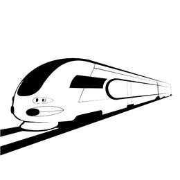 Abstrakte Skizze Black & White Bullet Train