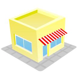 Edifício de casa de loja bonito & Funky