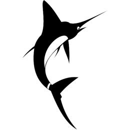 Feliz pez espada saltando en el aire