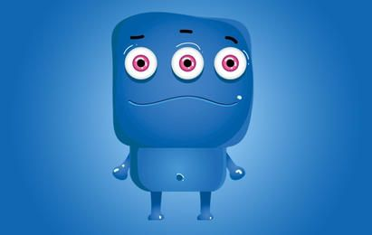 Monstro Ícone Azul Personagem