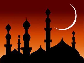 Mezquita sobre Bright Sky Rojizo