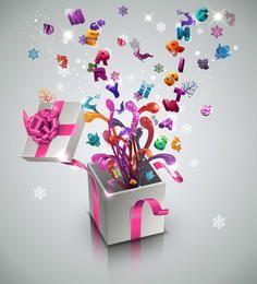 Caja de regalo de año nuevo y celebración 3D