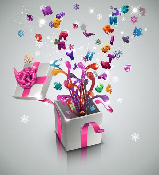3D New Year & Celebration Gift Box - Vector download