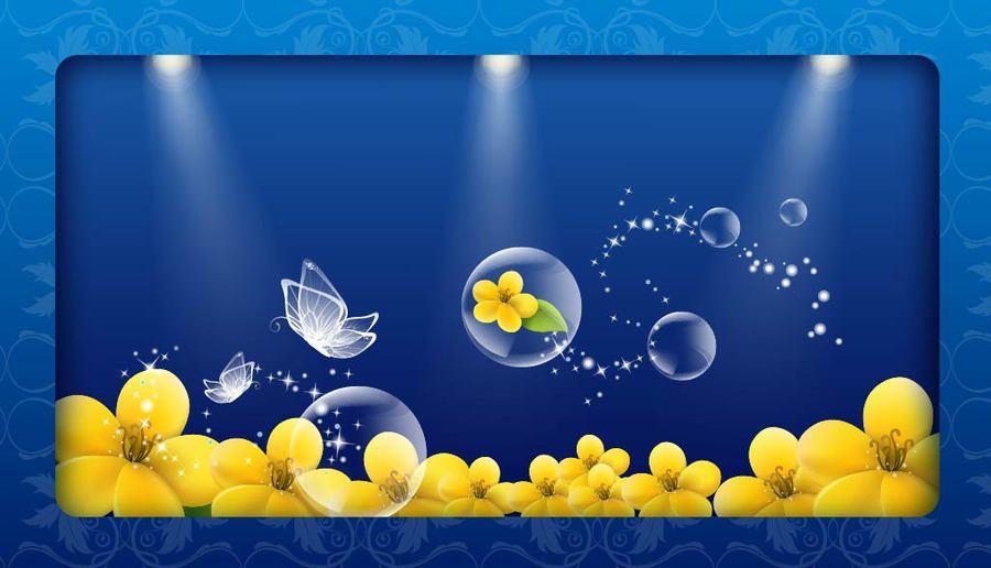 Mariposas de cristal fluorescentes y fondo floral