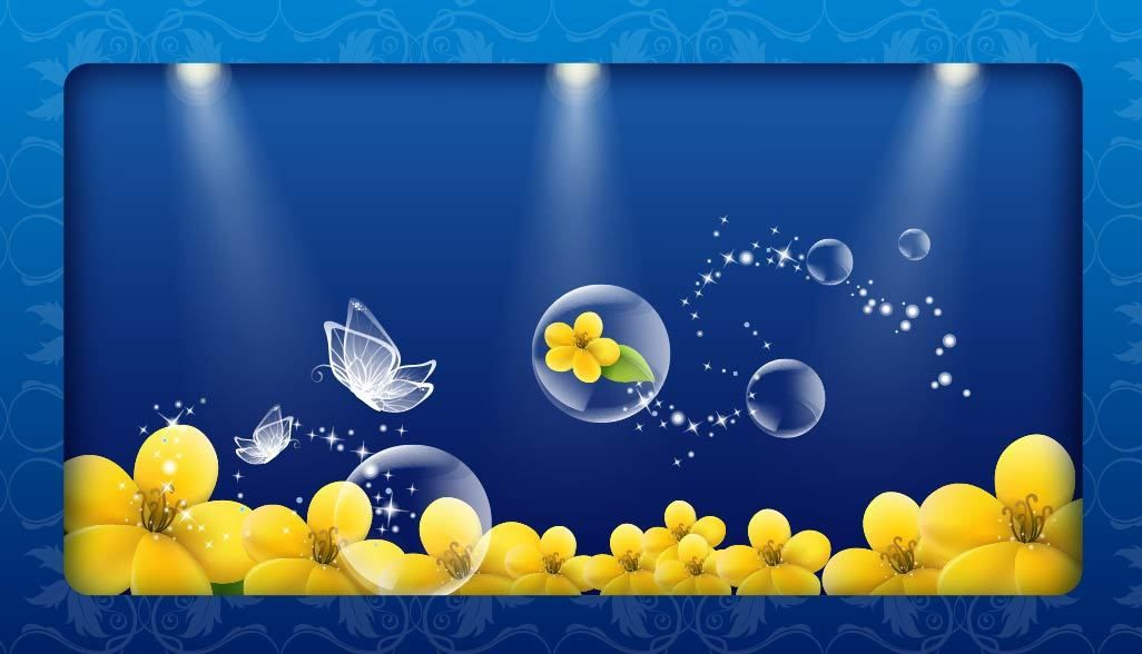 Fluorescent Crystal Butterfly Bubbles And Floral