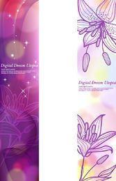 Glänzende lila Broschürenvorlage mit Lilie