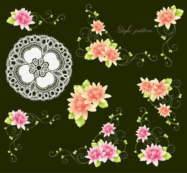Flores con capullos y adorno.