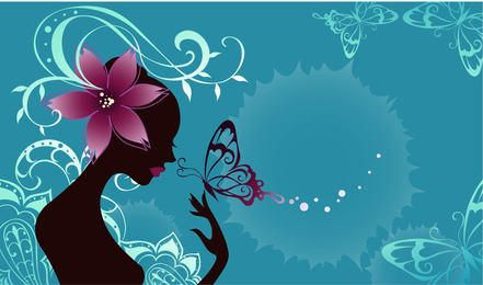 Butterfly Girl Fashion Art with Floral