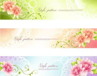 3 Floral Banners with Swirls