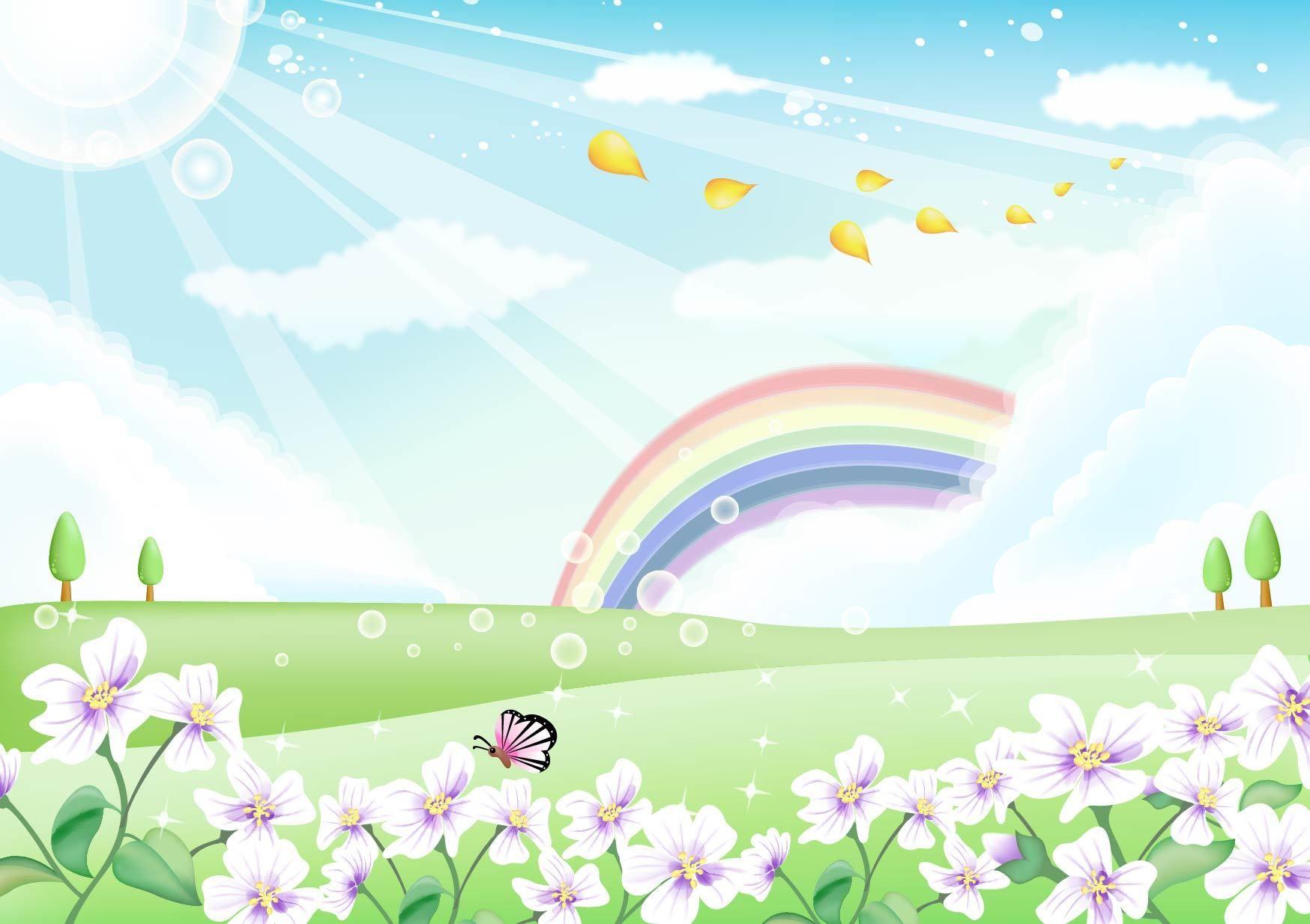 Paisaje de la naturaleza fresca con cielo del arco iris - Descargar ...