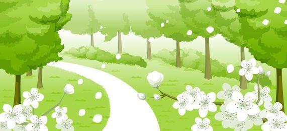 Fondo de primavera verde fresco con flores