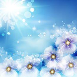 Fondo brillante con flores de fantasía y resplandores del sol