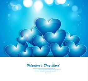 Cartão azul de incandescência do dia de são valentim