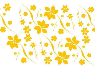 Flat Seamless Yellow Floral Pattern