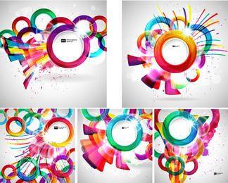 Conjunto de abstrato de círculos coloridos criativos