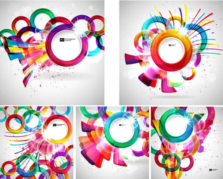 Creative Colorful Circles Abstract Background Set