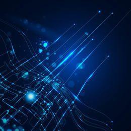 Fundo de linha de tecnologia dinâmica brilho azul