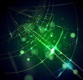 Linha de tecnologia verde brilhante fundo
