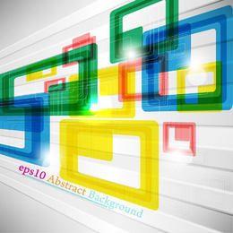 Quadrados coloridos dinâmicos e fundo de linho