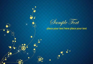 Midnight Blue Checker Fundo com Floral Dourado