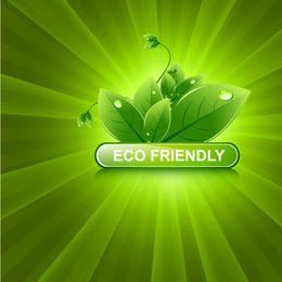 Brillante resplandor solar verde con hojas ecológicas