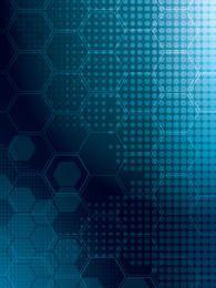 Blue Glow Halftone & Hexagonal Background