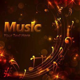 Fondo dorado musical brillante de la noche