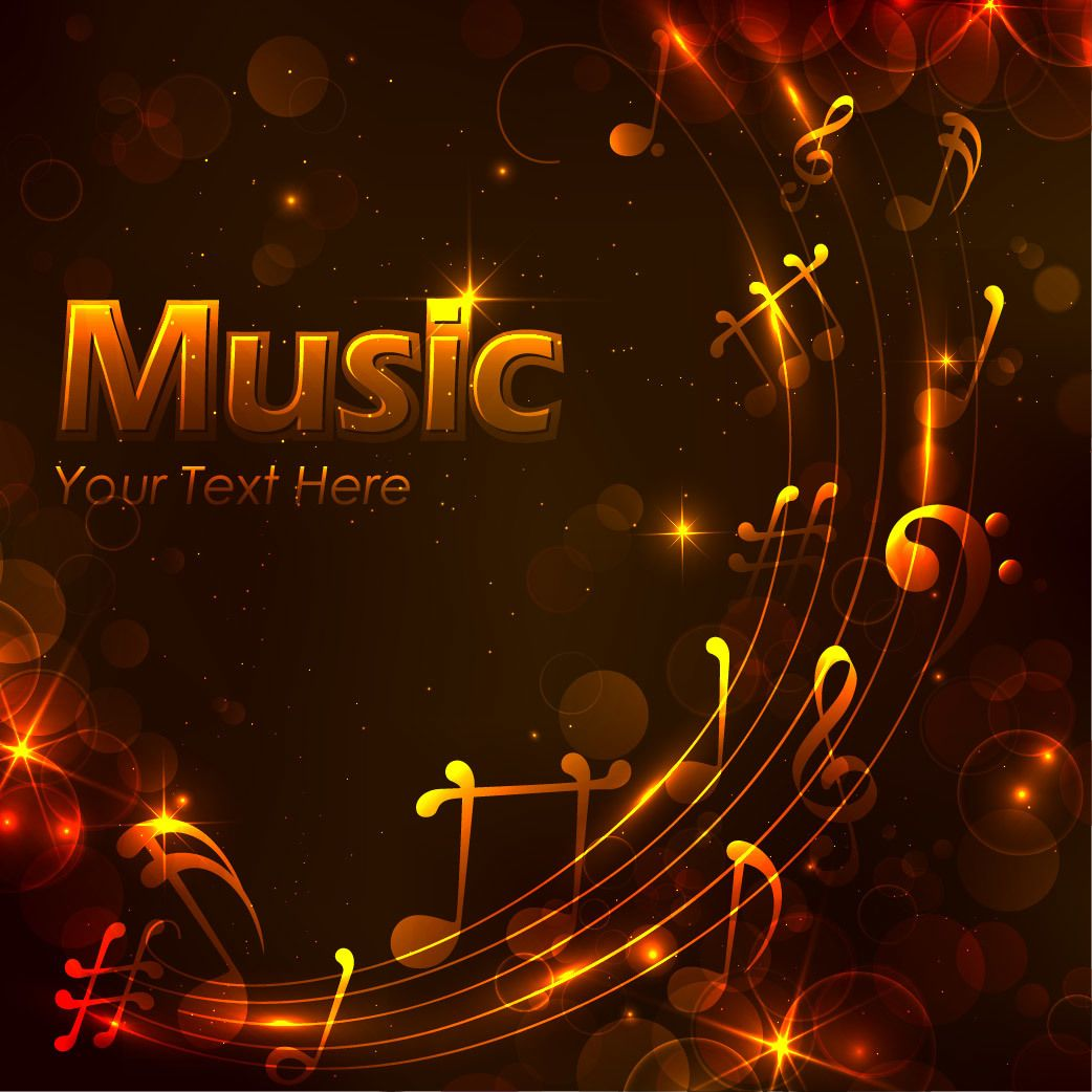 Glowing musical golden night background vector download for Golden night