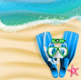 Playa de verano con Flipper y Snorkel
