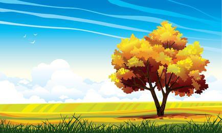 Paisagem abstrata com grande árvore