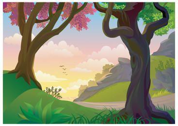 Hermosa escena de la naturaleza pintada