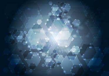 Fluorescent Hexagonal & Bokeh Bubbles Background