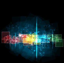 Cuadrados dinámicos de colores de fondo fluorescente