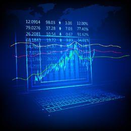 Fondo de gráfico financiero fluorescente de Blue Tech