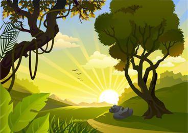 Sonnenaufgang-Landschaftsdschungelseite