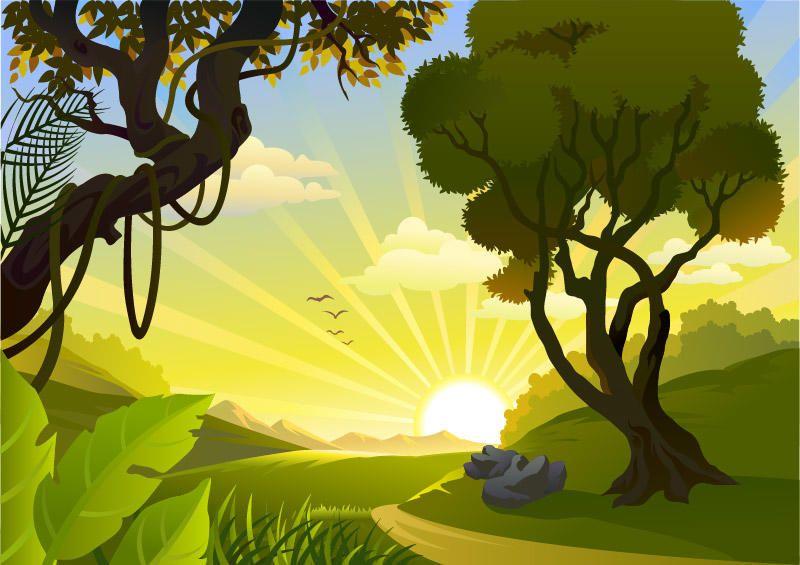 sunrise landscape jungle side   vector download