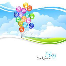 Social Media-Ballone über grünem gewelltem Rasen