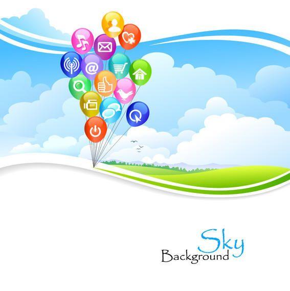 Social Media Balloons over Green Wavy Lawn